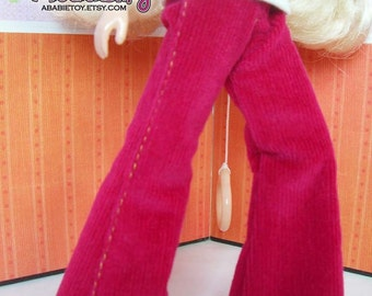 Fashion Flared Corduroy Pant for Blythe - Deep Red Rose Color