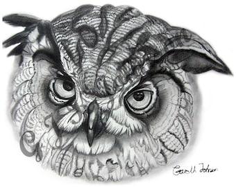 Eagle Owl in Pencil A4