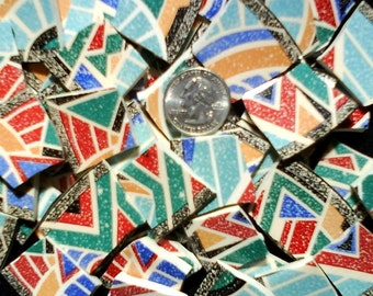 Mosaic Tiles - 55 Large Colorful Contemporary MOSAIC Plate Tiles, Geometric Rainbow Colors - FREE Shipping - ALLBellaJewels