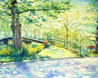 Bridge at Winona print of my Original Water Color