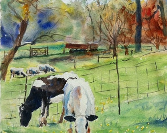 Cows at the Peters Dairy Farm print of my Original Water Color Painting
