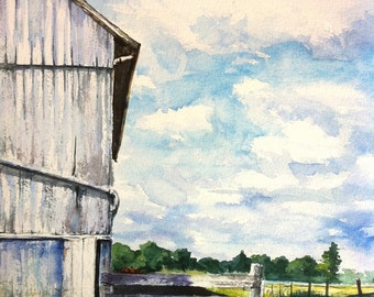 Amish Barn Print of my Original Water Color