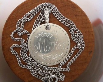 Mother Pendant Sterling Silver Hand Engraved Personalized