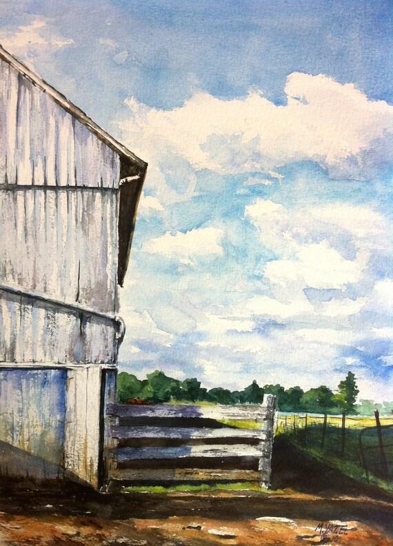 Amish Barn Print of my Original Water Color