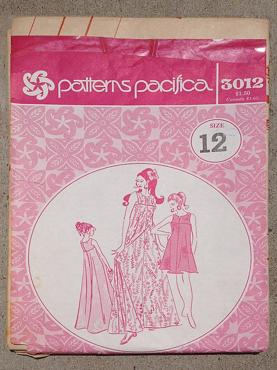 UNCUT Groovy Hawaiian Vintage 1970s Patterns Pacifica Sewing Pattern 3012 Misses' Muu, Size 12