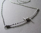The Lone Barb--Barbed Wire Necklace in Sterling Silver