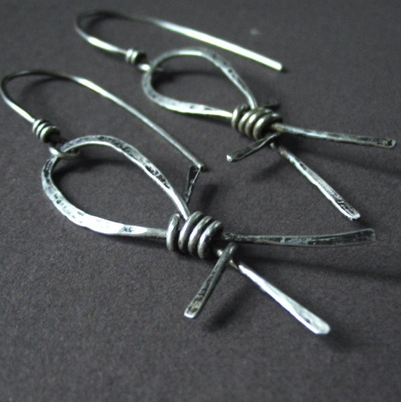 Barbed Wire Dangle Earrings, Sterling Silver - Make Mine A Single Barbed Wire Earrings
