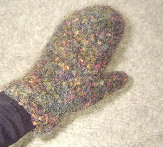 Womens Wool Mittens Handknit  Felted