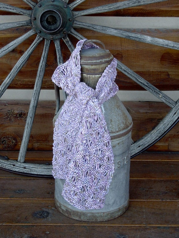 Lilac Scarf Handknit Bamboo Yarn
