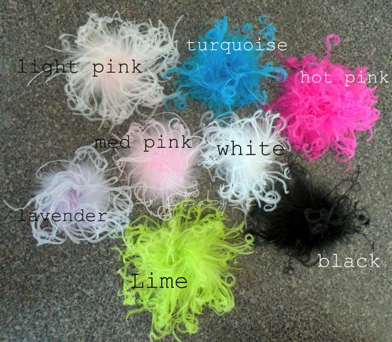 Curly Ostrich Feather Puff Hair Clippie - you pick color