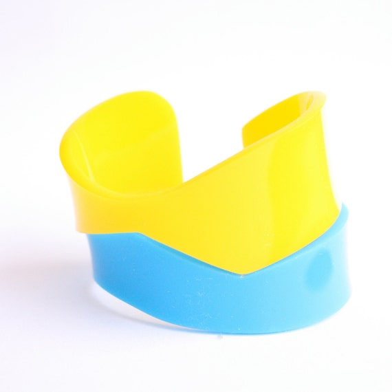 Plexiglass Color block  Acrylic cuff - hand cut - Neon blue and yellow
