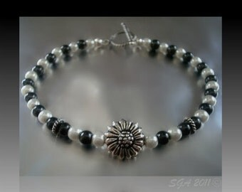 Sterling Silver, Sunflower Bracelet, Black & White Pearls