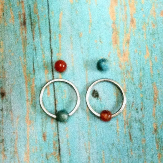 Cartilage Jewelry , carnelian , turquoise colors