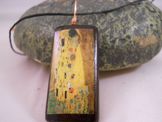 The Kiss by Gustav Klimt Bamboo Tile Necklace