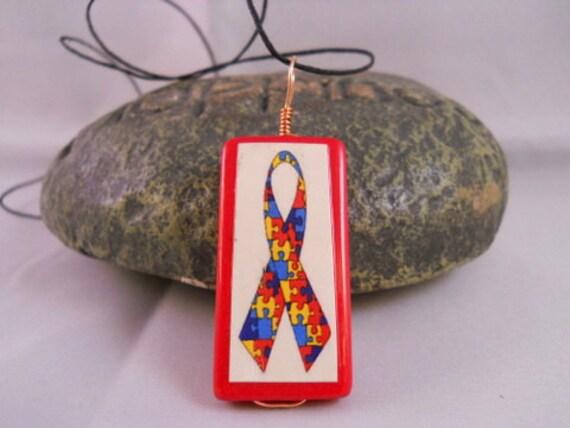 Autism Awareness Bamboo Tile Necklace
