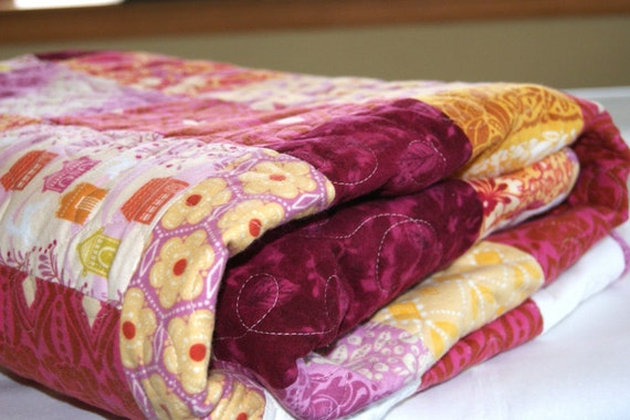 Amber Fields  HANDMADE Flannel Lap or Baby Quilt