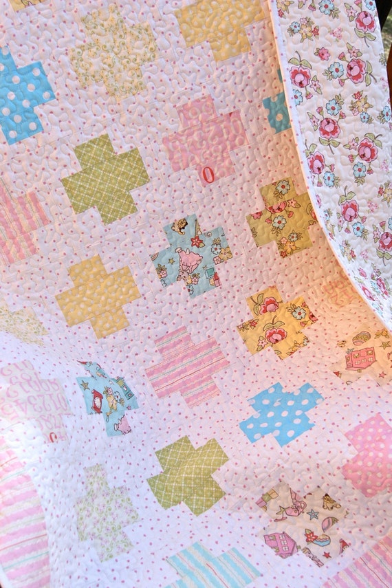 Baby Quilt Handmade Patchwork  Riley Blake Vintage Baby Fabrics