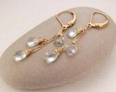 Aquamarine earrings, dainty gold dangle earrings, March birthstone, handmade wire wrapped jewelry, secure leverback earrings - Arielle