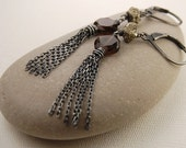 "Smoky quartz and pyrite earrings, oxidized sterling silver tassel earrings ""Miner's Ore"" handmade rustic jewelry,"