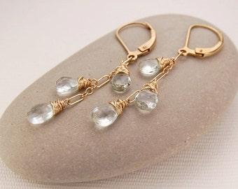 Aquamarine earrings, aquamarine dangle earrings, dainty gold earrings, March birthstone, gold leverback earrings - Arielle