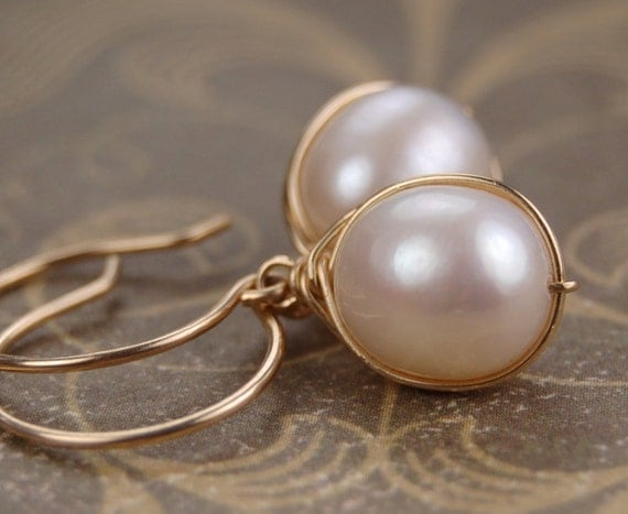 """White freshwater pearl and 14k gold fill wire wrapped earrings """"Cygnet"""" handmade wedding and graduation gift, June birthstone jewelry"""