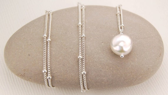 """White freshwater coin pearl necklace, sterling silver pearl necklace """"Petite Coin Pearls"""" June birthstone, bridal, wedding, fashion jewelry"""