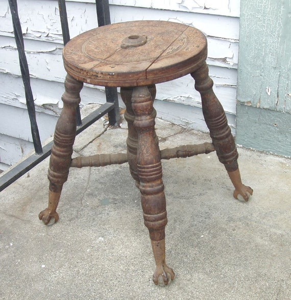 Items Similar To Antique Clawfoot Piano Stool Base For Parts Or
