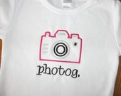 Camera Applique Shirt or Onesie - Embroidered Personalized Custom Monogrammed