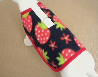 Strawberry Fleece Dog Harness Coat