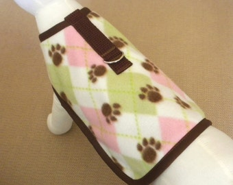Pink, White, And Green Argyle Dog Harness Coat