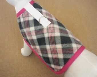 Pink And Grey Plaid Fleece Dog Harness Coat