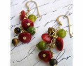 Wild at Heart Colorful Earrings with Tigers Eye and Coral