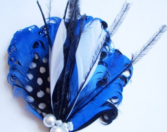 SAPPHIRE - Petite Royal Blue  Black and White Feather Hair Clip - Made to Order