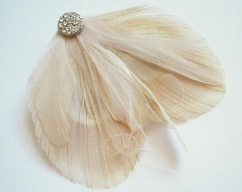 Peacock Feather Hairclip in Ivory and Champagne - LEAH II - Made to Order