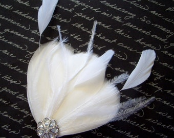 MILA PETIT PURE - Petite All White Bridal Feather Fascinator
