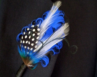 SAPPHIRE - Groom's Boutonniere - Royal Blue on Black Feather Boutonniere or Lapel Pin