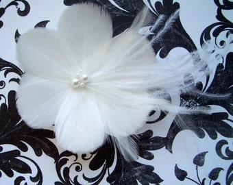 MALIHA  - Solid Ivory or White Bridal Flower Fascinator