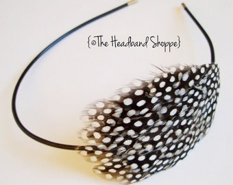 DAHLIA - Mini Guinea Hen Headband or Clip - Made to Order