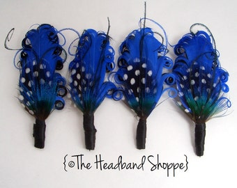 SAPPHIRE - Royal Blue and Black Boutonniere for the Groomsmen - Made to Order