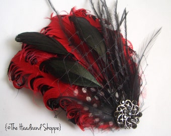 GENEVA - Red and Black Curled Goose Feather Fascinator or Headband - Made to Order