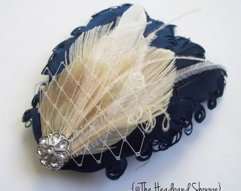 BRISTOL- Navy Blue and Ivory Curled Goose Peacock Feather Fascinator