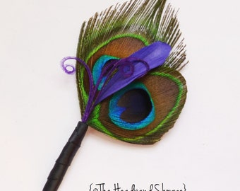 Double Peacock Boutonniere with Purple Accent Feathers- For the Groomsmen