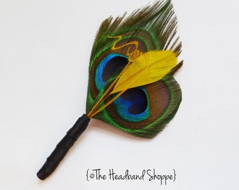 Double Peacock Boutonniere with Golden Yellow Accent Feathers- For the Groomsmen