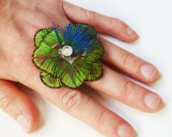 AMELIE Cocktail Ring - Golden Green Peacock Plumage - Made to Order
