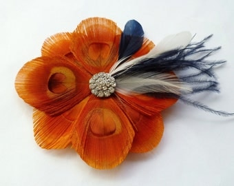 Orange, Navy Blue and Ivory Brooch Pin - TUSCANY - Custom Designed As a Brooch or Hairclip