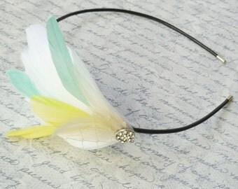 Petite Ivory, Aqua and Yellow Feather Headband with Glass Crystal Rhinestone - MARINDA II