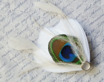 Ivory and Peacock Feather Bridal Hair Clip - MILA PETITE PEACOCK