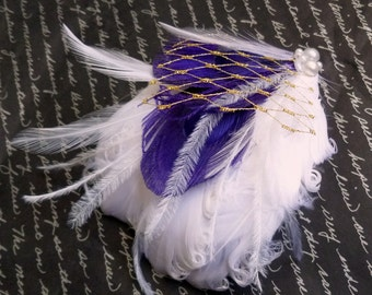 WINTER- White Purple and Gold Bridal Feather Fascinator
