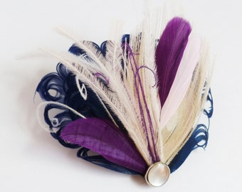 BREE - Navy Blue Ivory Blush and Purple Curled Goose Peacock Feather Fascinator