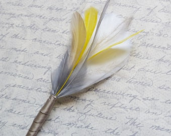 Yellow Grey and Ivory Feather Boutonniere Lapel Pin Buttonhole for the Groomsmen - Made to Order